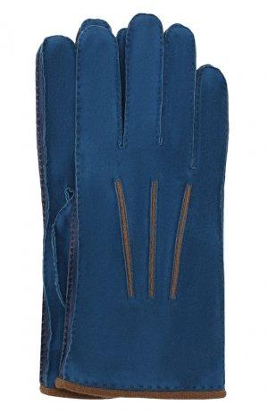 Замшевые перчатки Loro Piana. Цвет: синий