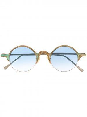 Солнцезащитные очки в круглой оправе с эффектом градиента Ziggy Chen. Цвет: золотистый