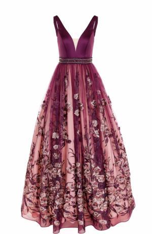 Приталенное платье-макси с декорированной юбкой Basix Black Label. Цвет: фиолетовый