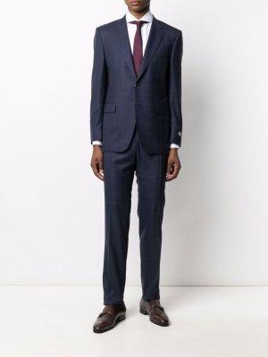 Клетчатый костюм с однобортным пиджаком Canali. Цвет: синий