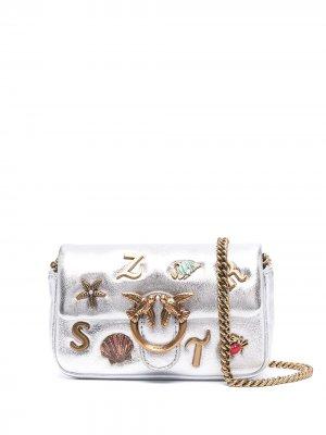 Декорированная мини-сумка Pinko. Цвет: серебристый