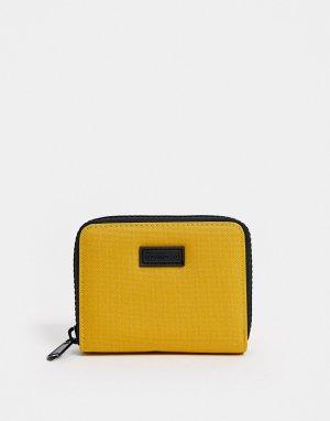 Бумажник с молнией по периметру -Желтый Consigned