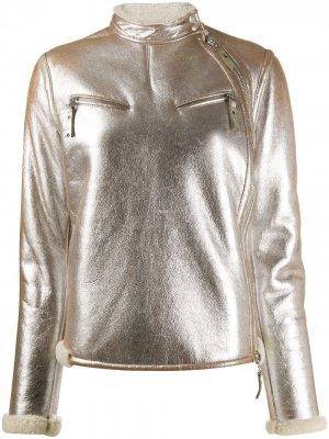 Байкерская куртка 2007-го года с эффектом металлик Gianfranco Ferré Pre-Owned. Цвет: серебристый