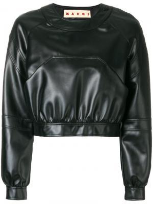 Укороченная кожаная куртка Marni. Цвет: чёрный