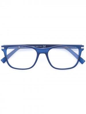 Солнцезащитные очки в квадратной оправе Ermenegildo Zegna. Цвет: синий