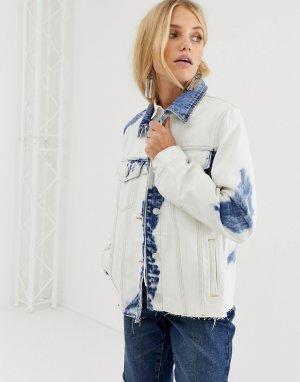 Джинсовая oversize-куртка с эффектом тай-дай Blank NYC-Белый NYC