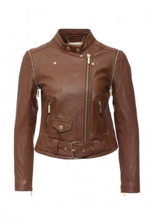 Куртка кожаная Michael Kors. Цвет: коричневый