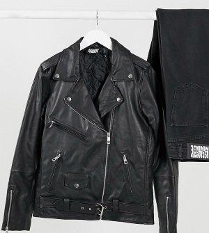 Кожаная байкерская oversized-куртка inspired-Черный цвет Reclaimed Vintage
