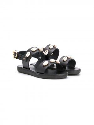 Декорированные сандалии Little Clio Ancient Greek Sandals. Цвет: черный