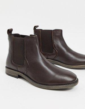 Коричневые кожаные ботинки челси в строгом стиле -Коричневый Dune