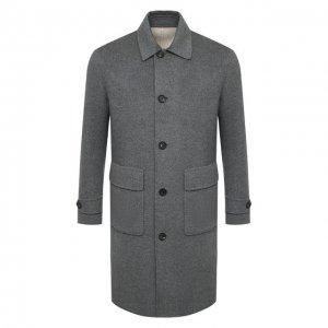 Двустороннее кашемировое пальто Eleventy Platinum. Цвет: серый
