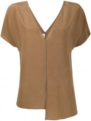 Блузка асимметричного кроя Alysi. Цвет: коричневый
