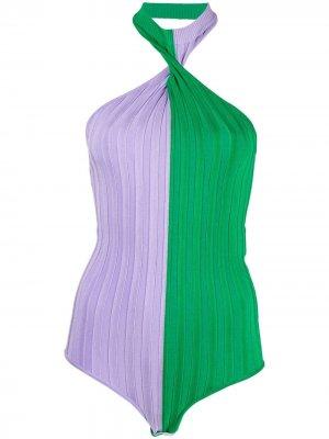 Боди с вырезом халтер MSGM. Цвет: фиолетовый