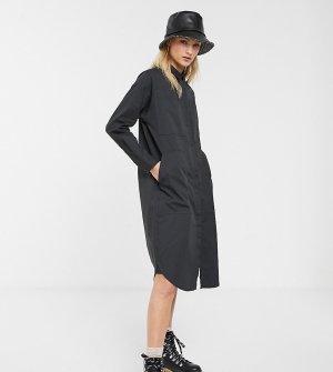 Серое платье-рубашка с карманами в стиле милитари -Серый Monki