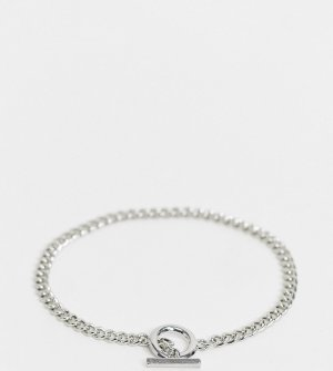 Серебристый браслет-цепочка на ногу с T-образной застежкой -Серебряный DesignB London Curve