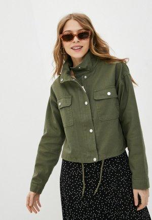 Куртка джинсовая Jacqueline de Yong. Цвет: хаки