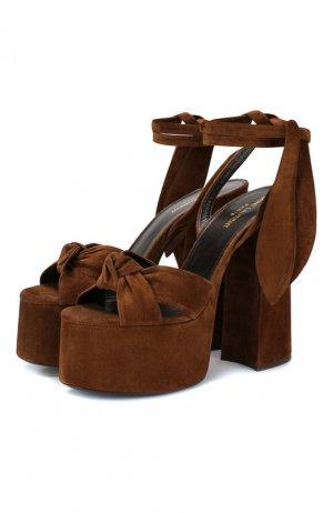 Замшевые босоножки Paige Saint Laurent. Цвет: коричневый