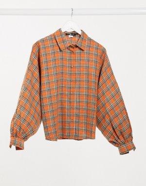 Oversize-рубашка в клетку -Оранжевый Daisy Street