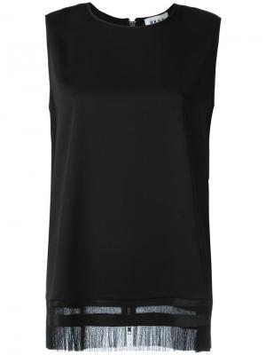 Майка с бахромой DKNY. Цвет: чёрный