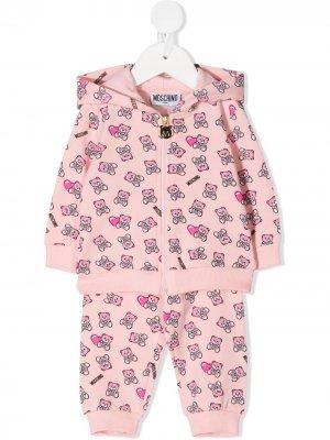 Спортивный костюм с графичным принтом Moschino Kids. Цвет: розовый