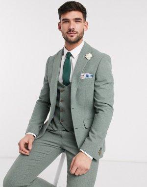 Узкий твидовый пиджак Wedding-Зеленый цвет Harry Brown