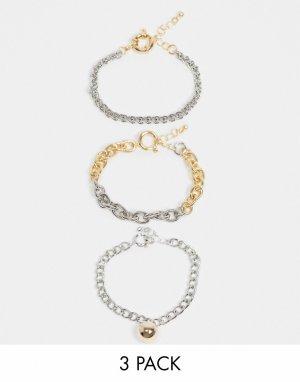 Набор из 3 браслетов с подвеской-шариком, застежкой-кольцом и покрытием разных оттенков ASOS DESIGN-Многоцветный