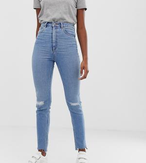 Светлые джинсы в винтажном стиле с завышенной талией и рваными коленями ASOS DESIGN Tall Farleigh-Синий