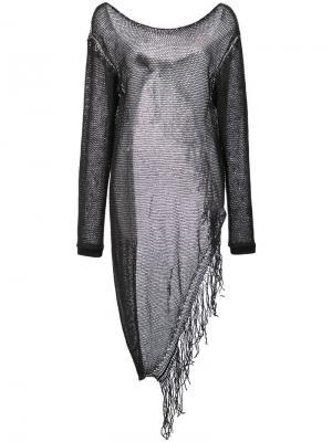 Сетчатый пуловер с бахромой Lost & Found Ria Dunn. Цвет: черный