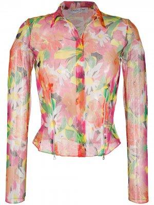 Полупрозрачная рубашка 2003-го года с цветочным принтом Christian Dior. Цвет: розовый