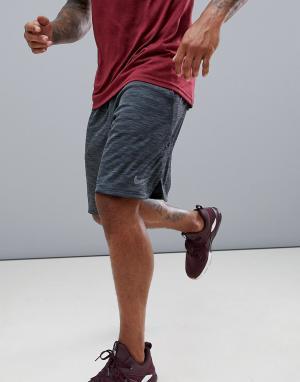 Черные меланжевые шорты длиной 9 дюймов Dry AA1555-010 Nike Training. Цвет: черный