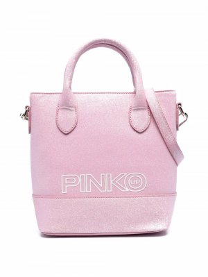 Сумка на плечо с блестками и логотипом Pinko Kids. Цвет: розовый