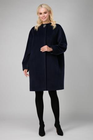 Женское пальто кокон на большой размер из шерсти Elisabetta. Цвет: темно-синий