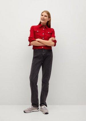 Джинсовая куртка из хлопка - Vicky Mango. Цвет: красный