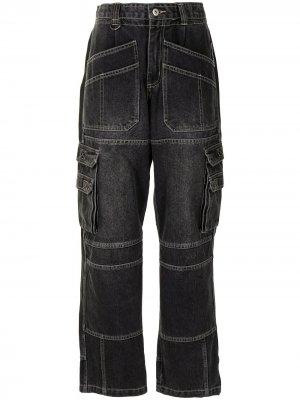 Прямые джинсы с завышенной талией Ground Zero. Цвет: черный