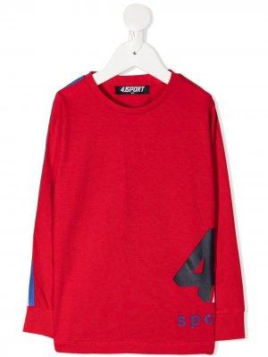 Топ с длинными рукавами и логотипом Cesare Paciotti 4Us Kids. Цвет: красный