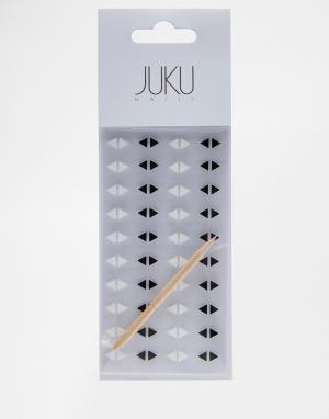 Набор треугольных наклеек на ногти Juku Nails эксклюзивно для ASOS. Цвет: черно-белый