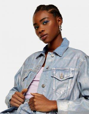 Серебристая джинсовая куртка с покрытием -Коричневый цвет Topshop