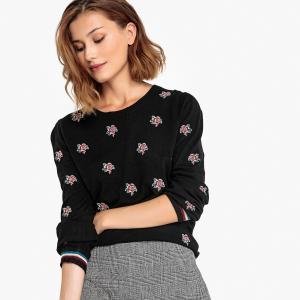 Пуловер с круглым вырезом и цветочной вышивкой PEPPINO SUNCOO. Цвет: черный