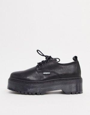 Кожаные туфли на массивной подошве со шнуровкой -Черный Bronx