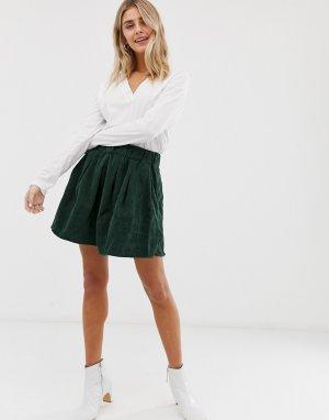 Вельветовая юбка Moves By -Зеленый Minimum