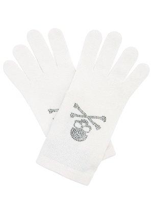 Перчатки трикотажные Philipp Plein. Цвет: белый