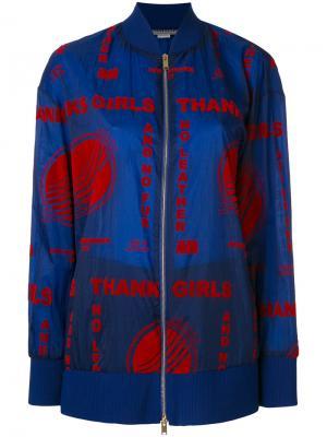 Куртка-бомбер с вышивкой Stella McCartney. Цвет: синий