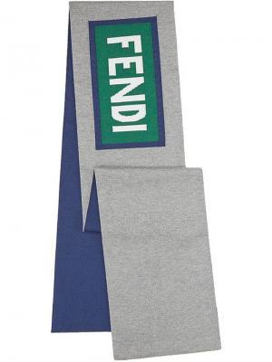 Шарф с логотипом Fendi Kids. Цвет: серый
