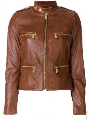 Кожаная байкерская куртка Michael Kors. Цвет: коричневый
