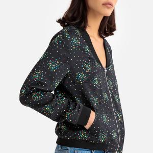 Куртка на молнии с отделкой краев в рубчик LPB WOMAN. Цвет: рисунок/фон черный