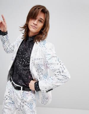 Бархатный супероблегающий пиджак с принтом -Белый Noose & Monkey