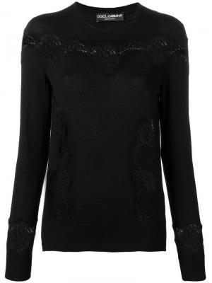 Приталенный пуловер с кружевными вставками Dolce & Gabbana