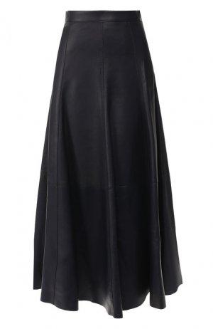 Кожаная юбка-миди Ralph Lauren. Цвет: синий
