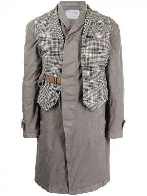Многослойное пальто с жилетом в клетку Kolor. Цвет: серый