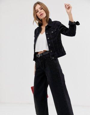 Черная джинсовая куртка Pimkie